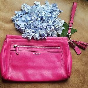 Bright pink large Coach Clutch/Wristlet